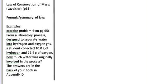 Thumbnail for entry Stephens Chemistry: Law of Conservation of Mass (9-23-13)