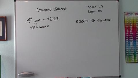 Thumbnail for entry Saxon 7/6 - Lesson 116 - Compound Interest