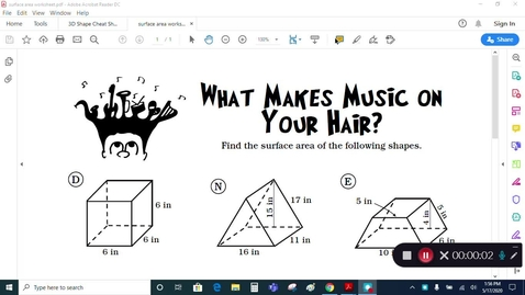 Thumbnail for entry Grade 7 - Math - Surface Area 3D Shapes