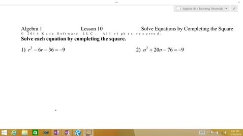 Thumbnail for entry Algebra 1B Lesson 10 #1-2