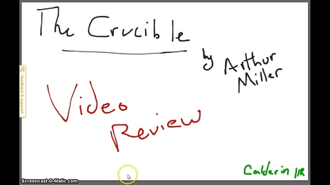 Thumbnail for entry The Crucible Video Review