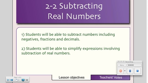 Thumbnail for entry 2-2 Subtracting Real Numbers
