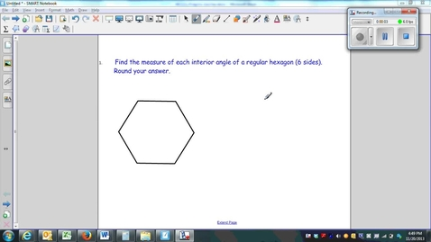Thumbnail for entry Polygons Question 1, using the sum of interior angles