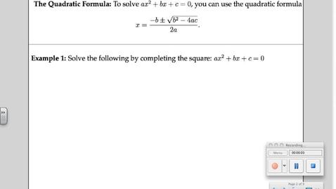 Thumbnail for entry 5-8 The Quadratic Formula
