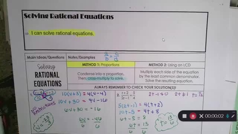 Thumbnail for entry 9-14 Pre-Calc Solving Rational Equations Using Proportions (Cross-Multiply)