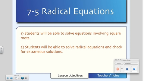 Thumbnail for entry 7-5 Square Root Equations
