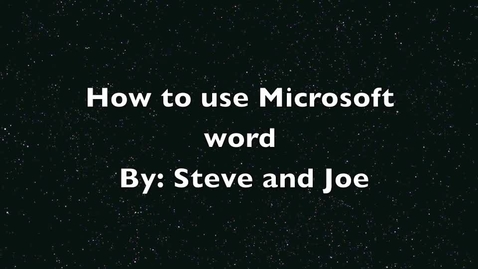 Thumbnail for entry Steve and Joe's Word Screencast