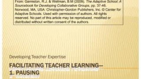Thumbnail for entry Facilitating Teacher Conversations: Pausing