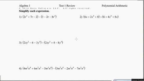 Thumbnail for entry Algebra1B Test 1 Review #1-4
