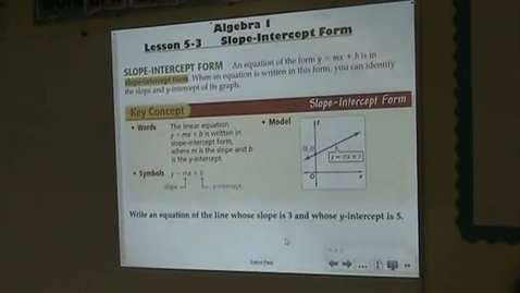 Thumbnail for entry Alg Lesson 5-3 Slope-Intercept Form Part 1