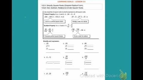 """Thumbnail for entry Alg2B Lesson 1:3 (5:4 part 1): """"Simplifying Square Roots"""""""