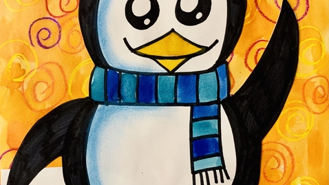 Thumbnail for entry Winter Penguin Drawing