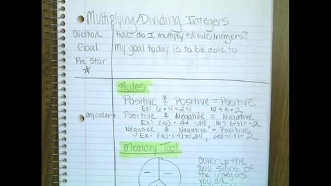 Thumbnail for entry Multiplying & Dividing Integers
