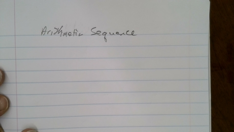 Thumbnail for entry Arithmetic Sequences