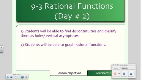 Thumbnail for entry 9-3 Rational Functions and their Graphs (Day # 2)