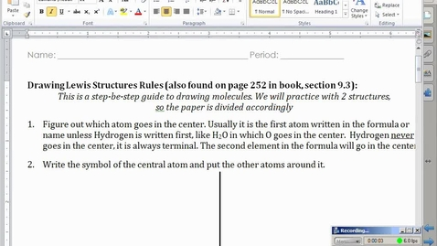Thumbnail for entry Stephens Chemistry: (4-25-14) 9.3 Drawing Lewis Structures