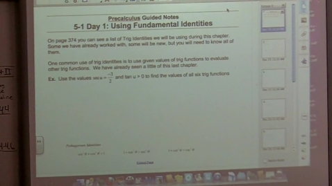 Thumbnail for entry Precalculus Section 5-1 Fundamental Trig Identities