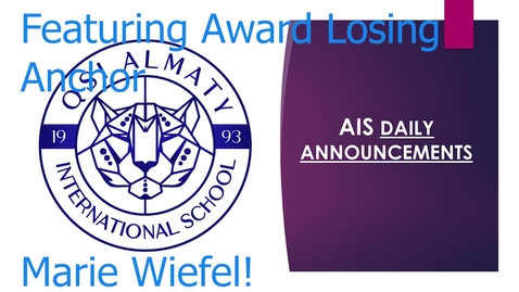 Thumbnail for entry QSI AIS Announcements April 26-30