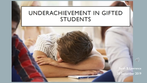 Thumbnail for entry Underachievement in Gifted students