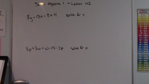 Thumbnail for entry Saxon Algebra 1 - Lesson  42 - Solving Multivariable Equations