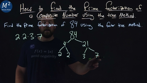 Thumbnail for entry How to Find the Prime Factorization of a Composite Number Using the Tree Method | 84 | Part 2 of 2