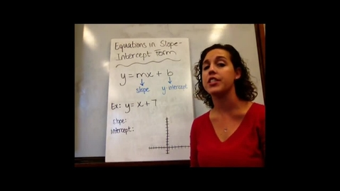 Thumbnail for entry Alg I - Sect 5-3 Equations in Slope-Intercept Form