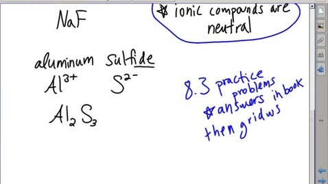Thumbnail for entry Stephens Chemistry: (11-4-13) Writing and naming ionic compounds