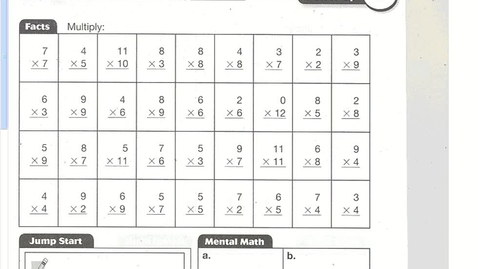 Thumbnail for entry Math Lesson 76 (Multiplication Facts 11 & 12)
