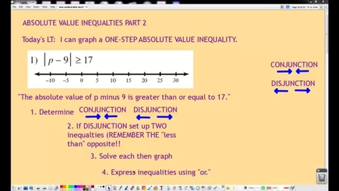Thumbnail for entry ABSOLUTE VALUE INEQUALITIES PART 2