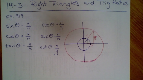 Thumbnail for entry 14.3 Right Triangles and Trig (part 1)
