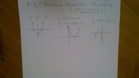 Thumbnail for entry Algebra I - 8.3 Graphing Parabolas