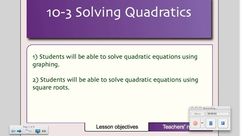 Thumbnail for entry 10-3 Solving Quadratics Using Square Roots