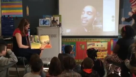 Thumbnail for entry 3rd Grade Classroom - Tiki Barber guest reader via Hangouts