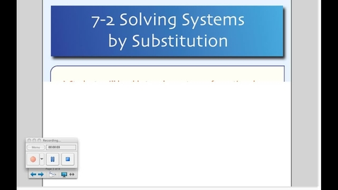 Thumbnail for entry 7-2 Substitution (Day # 2)