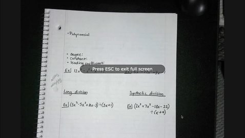 Thumbnail for entry Alg2 Synthetic & Long Division