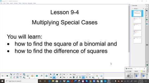 Thumbnail for entry Lesson 9-4 Teacher Video