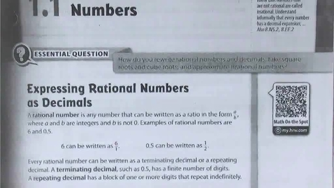 Thumbnail for entry 1.1a Introduction to Rational Numbers and Converting Rational Numbers from Fractions to Decimals and Back -- Textbook pp. 7 - 8