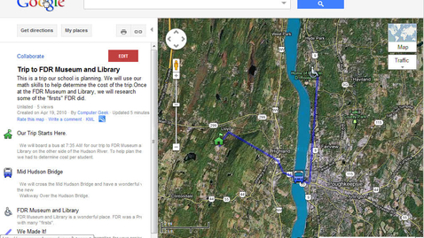 Thumbnail for entry FDR Trip in a Google Map
