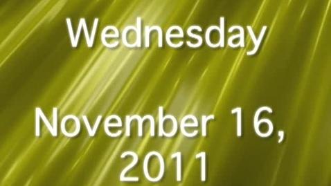 Thumbnail for entry Wednesday, November 16, 2011