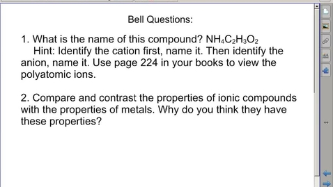 Thumbnail for entry Stephens Chemistry: (11-5-13) 8.3 Naming ionic compounds day 2