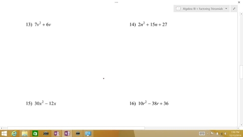 Thumbnail for entry Algebra 1B Lesson 08 #13-16