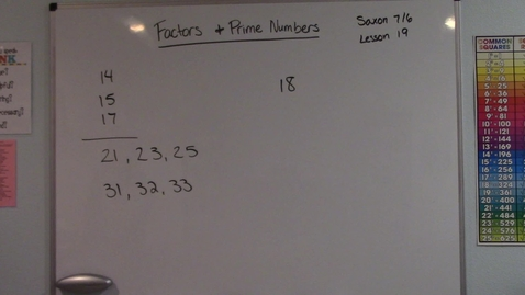 Thumbnail for entry Saxon 7/6 - Lesson 19 - Factors & Prime Numbers