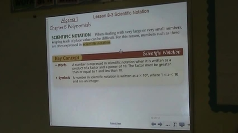 Thumbnail for entry Alg Lesson 8-3 Scientific Notation