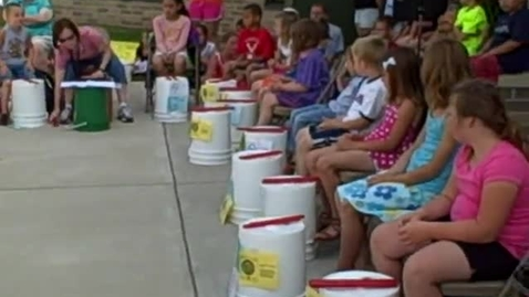 Thumbnail for entry 10:00 a.m. performance (part 1) of Bucket Drumming - Rock Ledge Summer School 2015