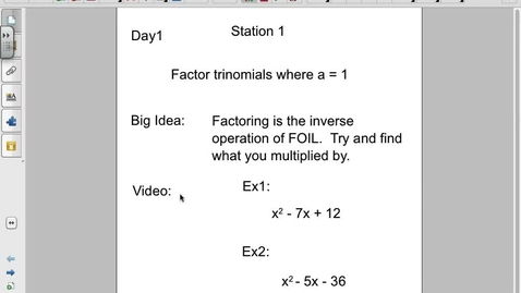 Thumbnail for entry Factoring when a = 1