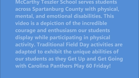 Thumbnail for entry Carolina Panthers Play 60 Friday McCarthy Teszler School