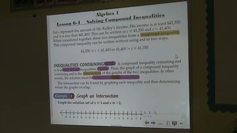 Thumbnail for entry Alg Lesson 6-4 Compound Inequalities