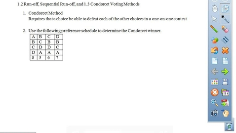 Thumbnail for entry 1.2 and 1.3 Notes on Copeland, Condorcet, and Run-off Methods