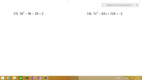 Thumbnail for entry Algebra 1B Lesson 09 #13-14