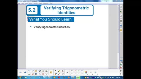 Thumbnail for entry 5.2.2  Ex. 3 to 5 Verifying Trigonometric Identities